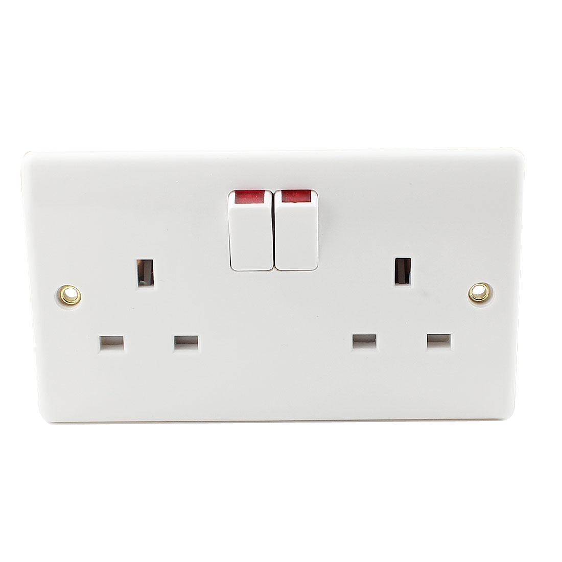 Dual AC 250V UK Socket 2 Gang Single Pole Wall Switched Outlet White 140mm x 86mm