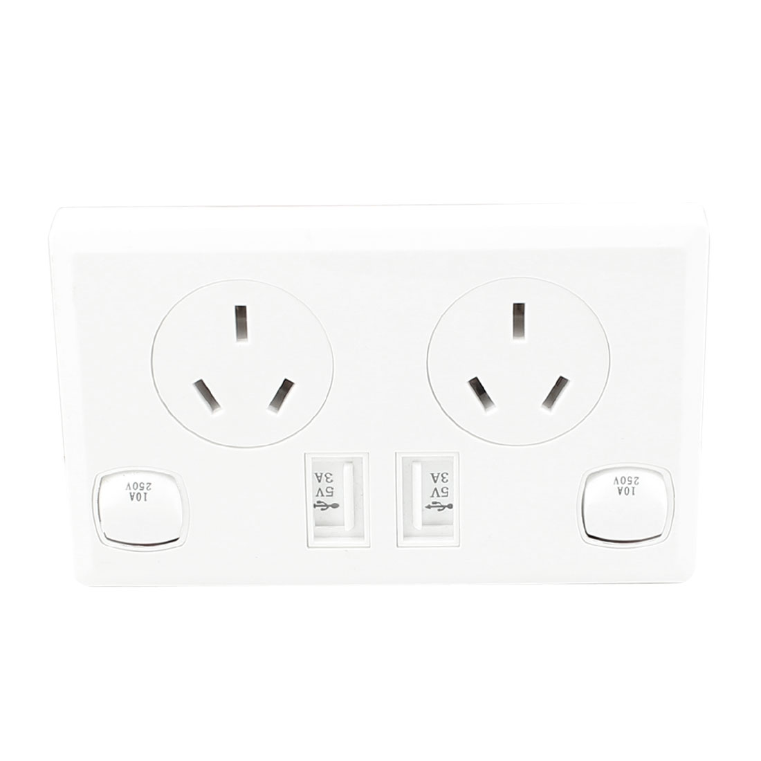 Dual AC 90V-250V AU Socket 2 USB Port Charging DC 5V 3A Mains Power Switch Wall Outlet