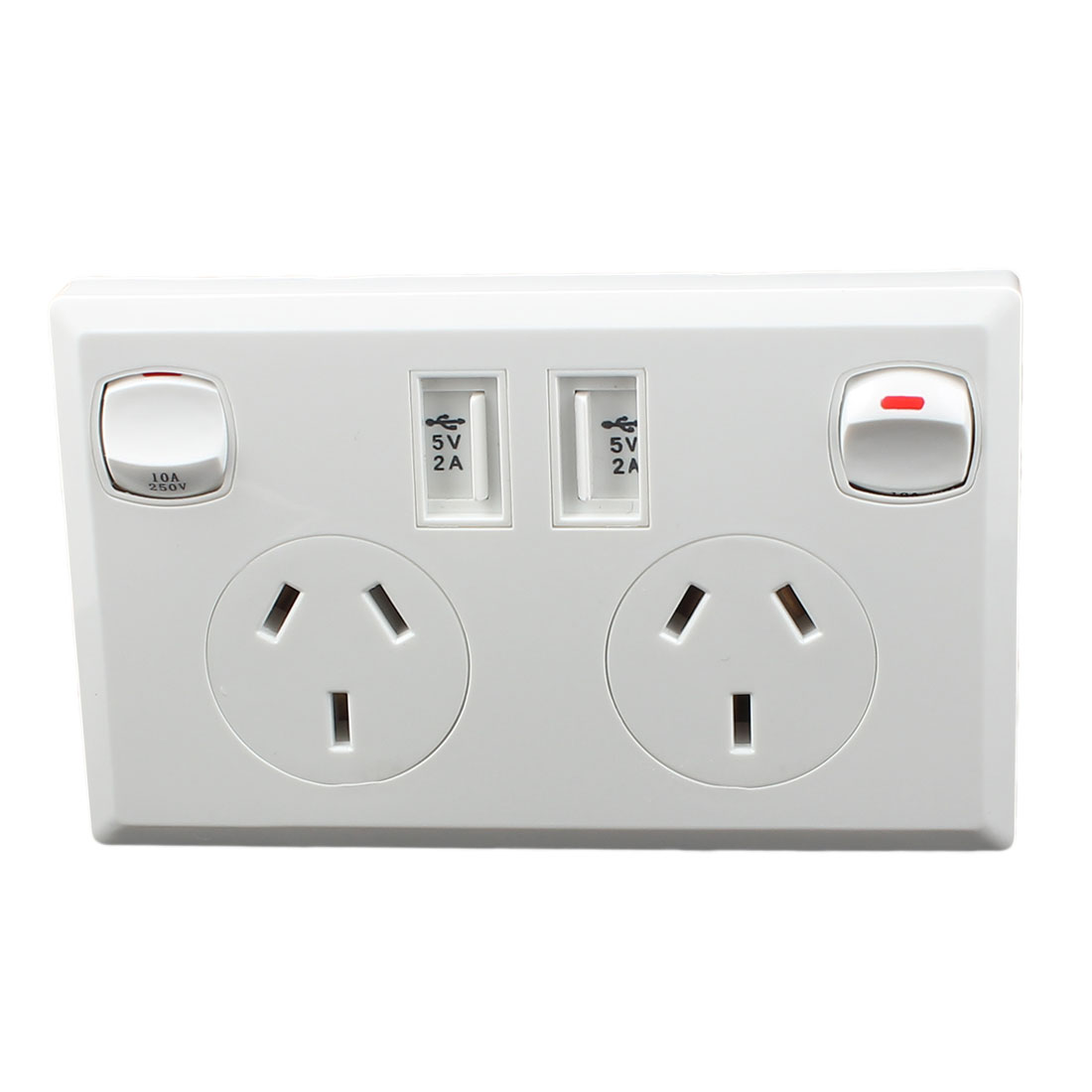 Dual AC 90V-250V AU Socket 2 USB Port Charging DC 5V 2100mA Mains Power Switch Wall Outlet