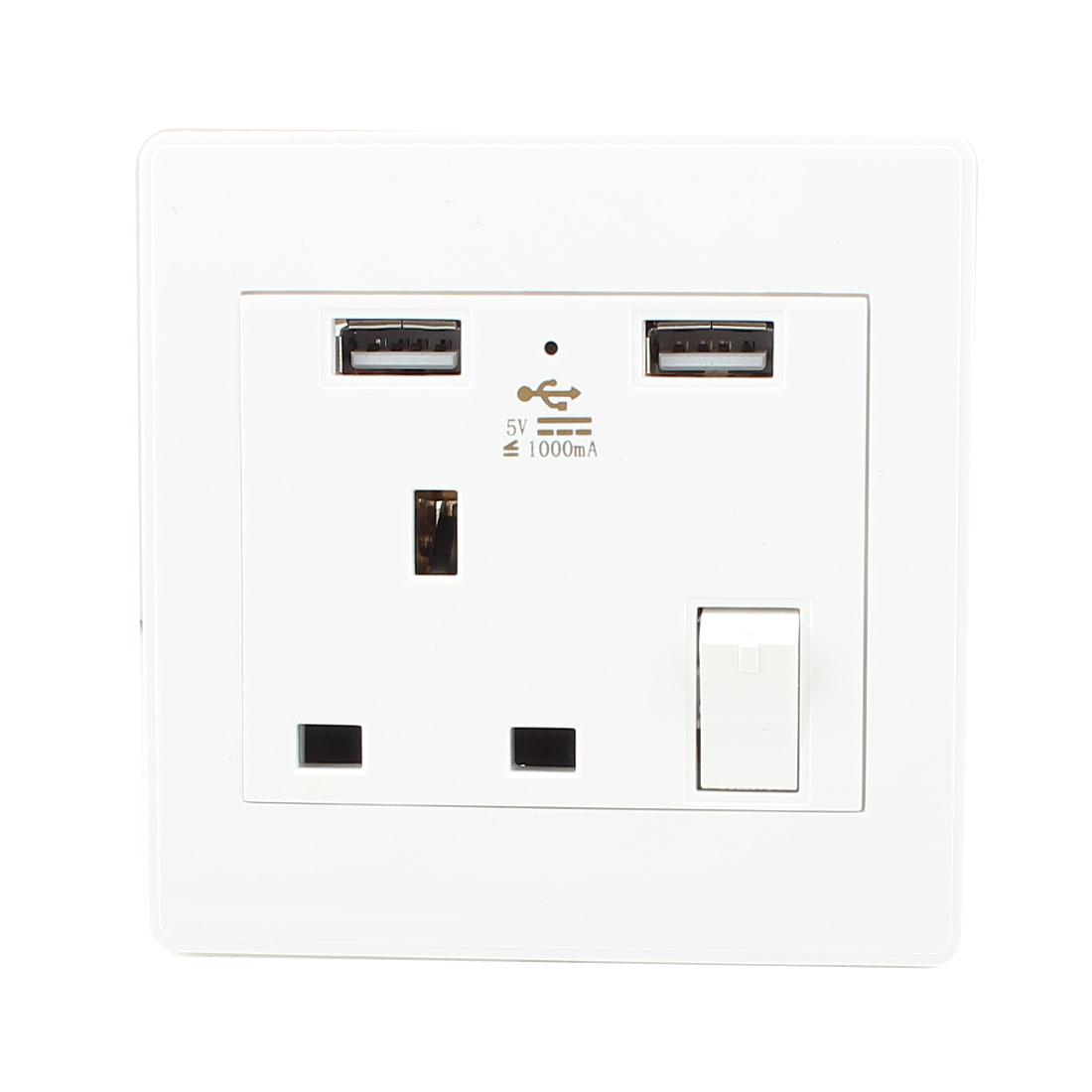 AC 110V-250V UK Socket 2 USB Port Charging DC 5V 1000mA Switch Mains Power Wall Outlet