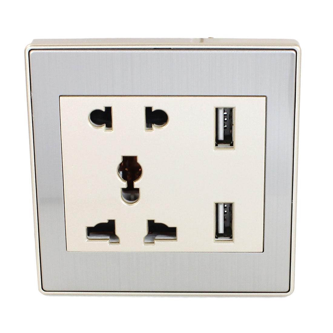 AC 110V-250V AU EU UK US Socket 2 USB Port Charger DC 5V 1000mA Mains Power Gold Tone