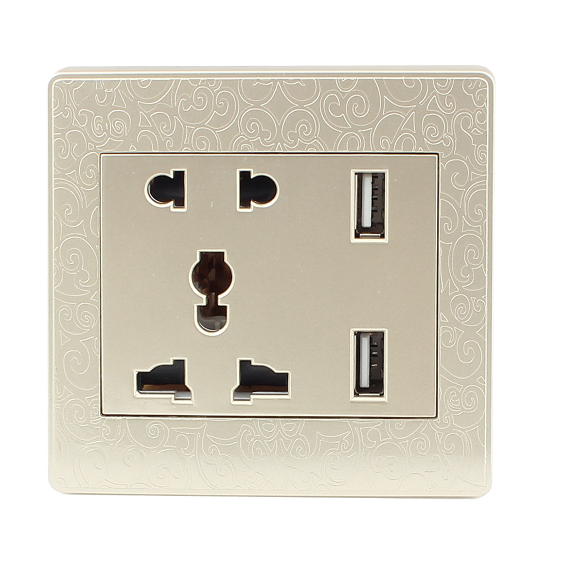 AC 110V-250V AU EU UK US Socket 2 USB Outlet Charging DC 5V 1000mA Mains Power Gold Tone