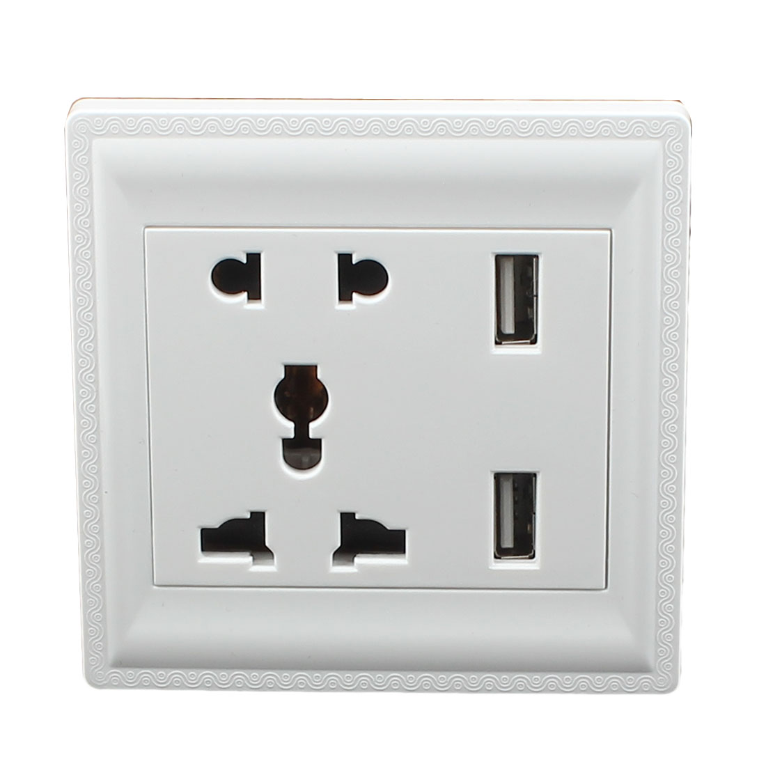 AC 110V-250V AU EU UK US Socket 2 USB Outlet Charging DC 5V 1000mA Mains Power White