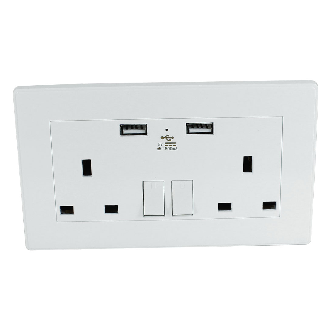 Dual AC 110V-250V UK Socket 2 USB Port Charging DC 5V 4800mA Mains Power Switch Wall Outlet