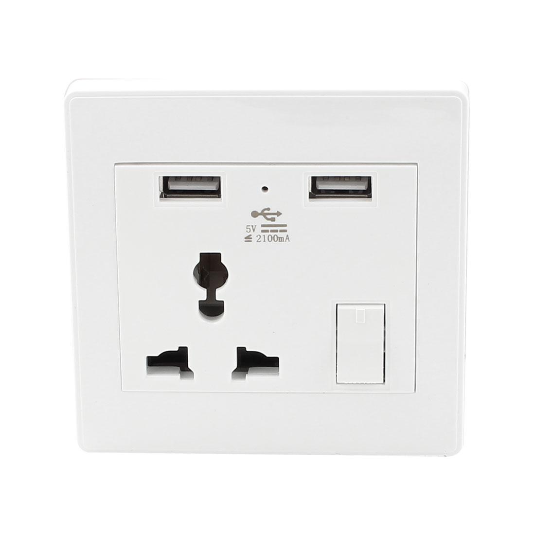 AC 110V-250V AU EU UK US Socket 2 USB Port Charger DC 5V 2100mA Mains Switch Receptacle