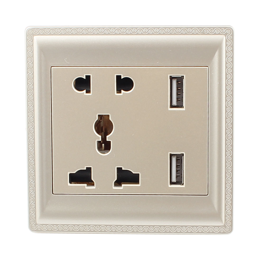 AC 110V-250V AU EU UK US Socket 2 USB Outlet Charger DC 5V 2100mA Mains Power Gold Tone