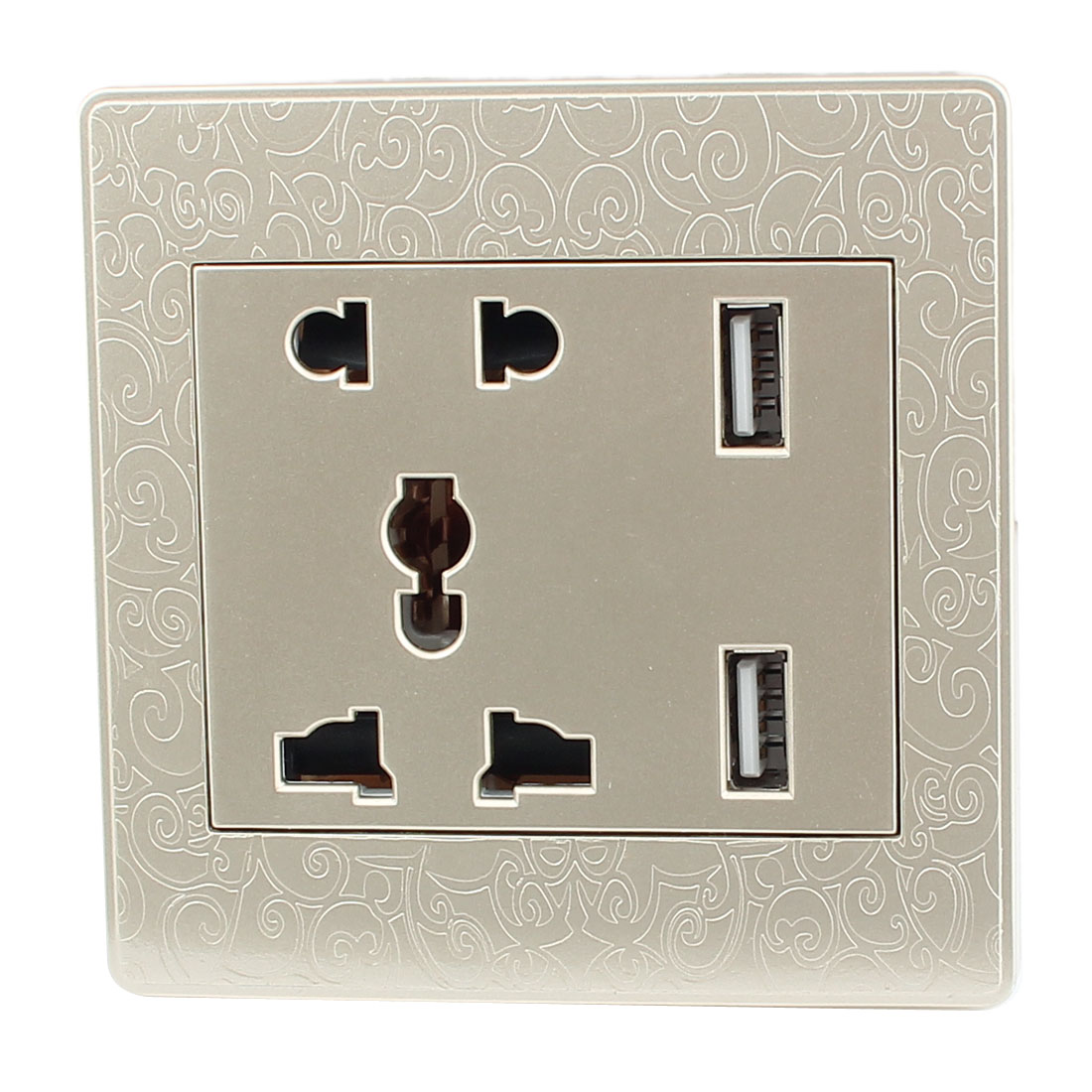 AC 110V-250V AU EU UK US Socket 2 USB Outlet Charging DC 5V 2100mA Mains Power Gold Tone