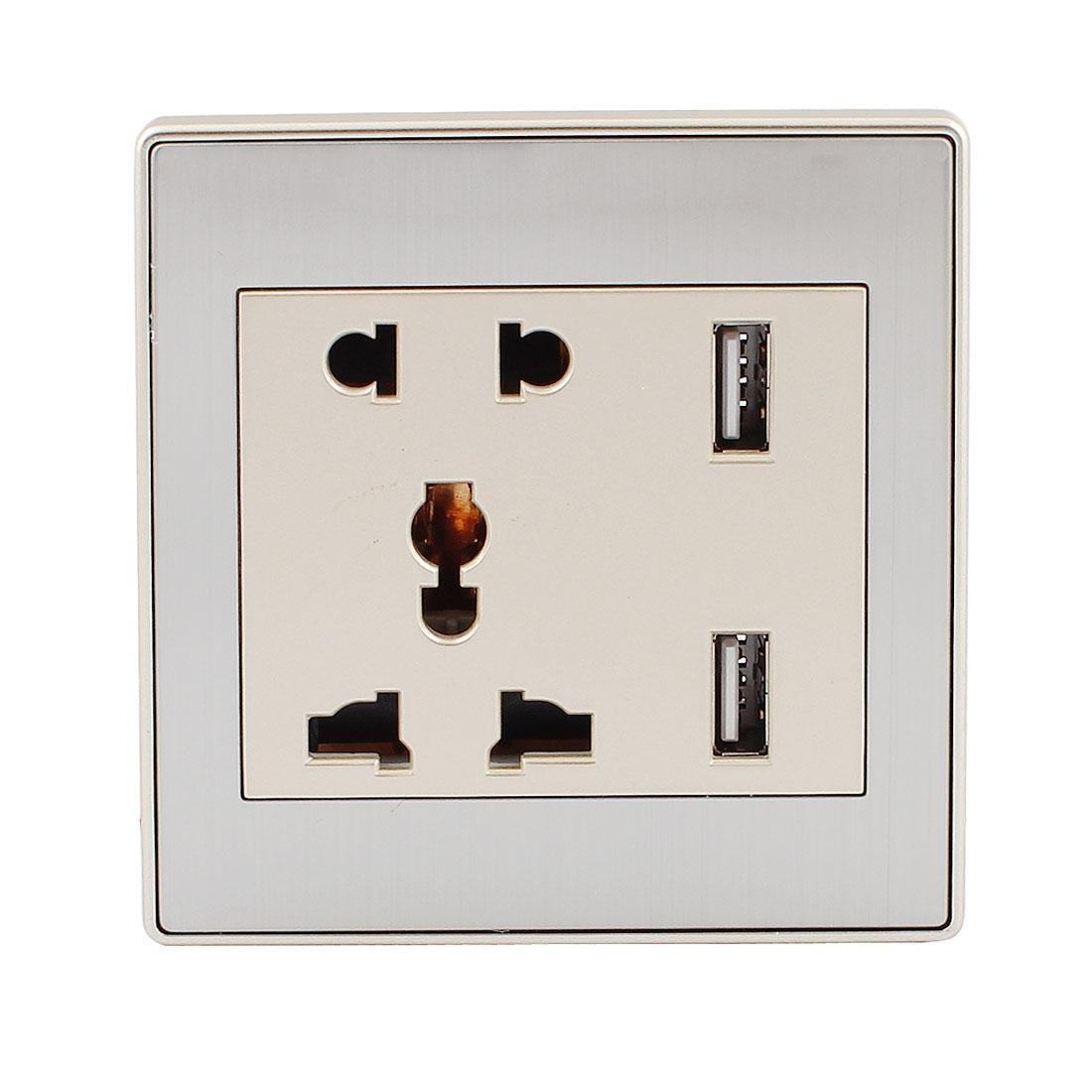 AC 110V-250V AU EU UK US Socket 2 USB Port Charger DC 5V 2100mA Mains Power Gold Tone