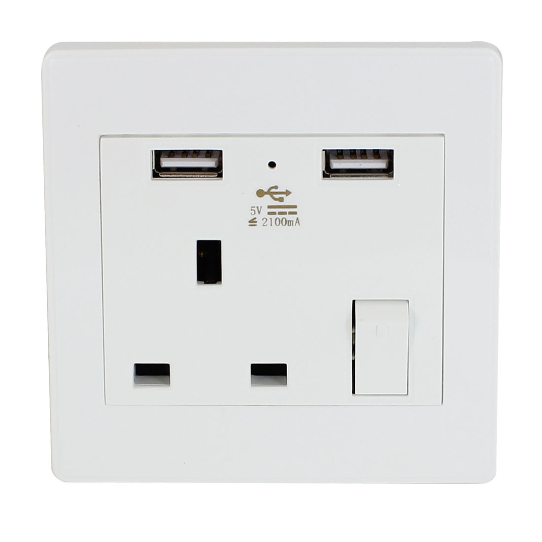 AC 110V-250V UK Socket 2 USB Port Charging DC 5V 2100mA Switch Mains Power Wall Outlet