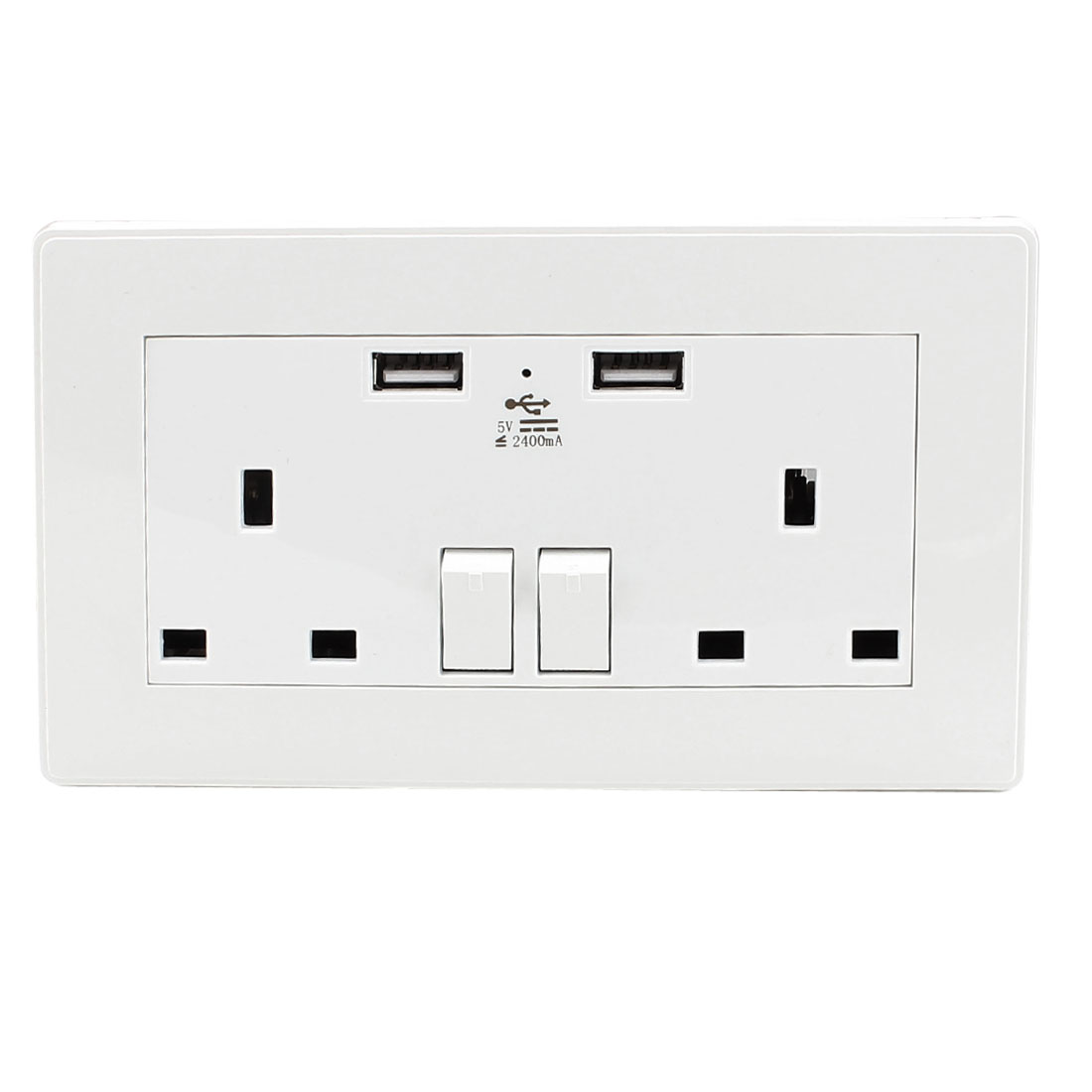 Dual AC 110V-250V UK Socket 2 USB Port Charging DC 5V 2400mA Mains Power Switch Wall Outlet