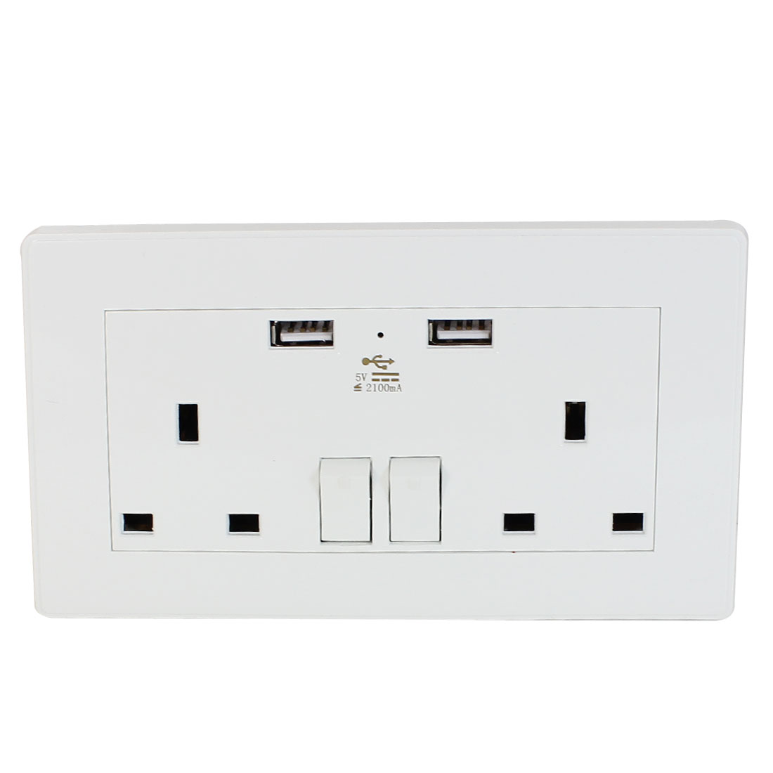 Dual AC 110V-250V UK Socket 2 USB Port Charging DC 5V 2100mA Mains Power Switch Wall Outlet