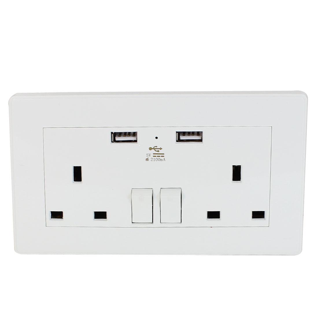 Dual AC 110V-250V UK Socket 2 USB Port Charging DC 5V 2100mA Mains Power Switch Wall Outlet