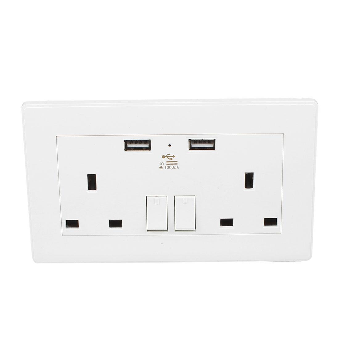Dual AC 110V-250V UK Socket 2 USB Port Charging DC 5V 1000mA Mains Power Switch Wall Outlet