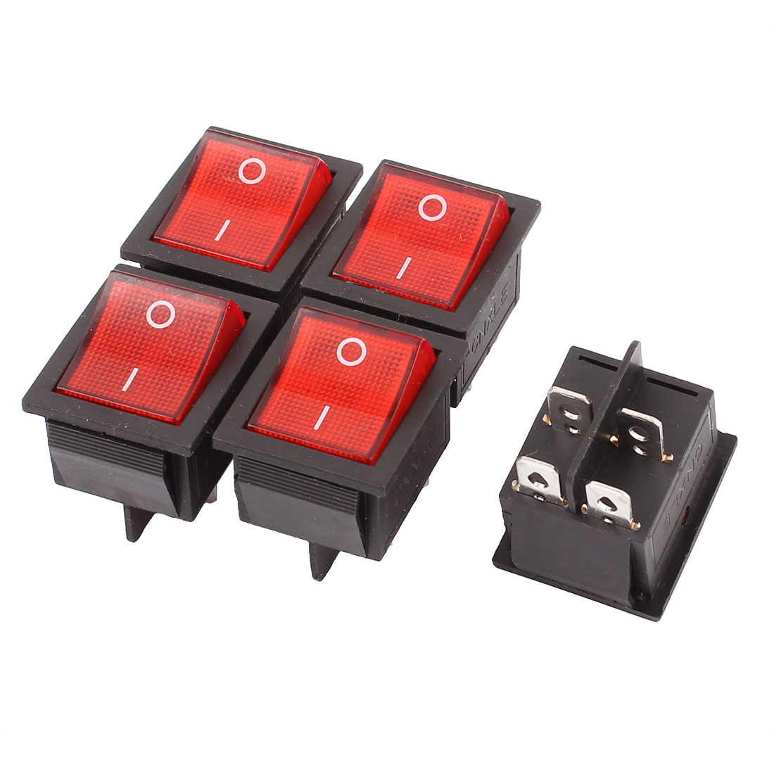 AC 15A/250V 20A/125V 4 Pin 2 Position On-Off SPST Red Lamp Rocker Switch 5PCS