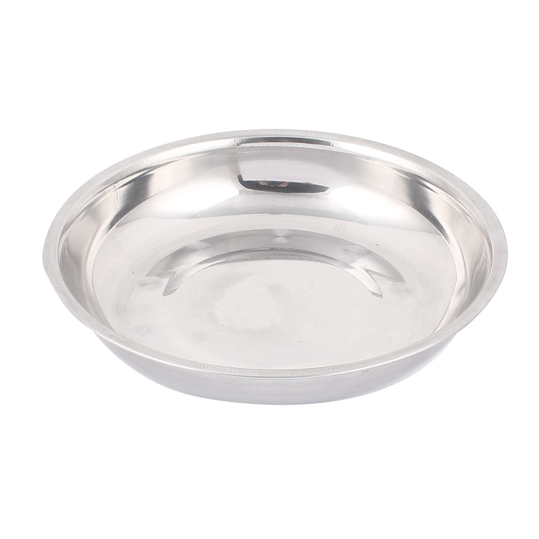 """7"""" Diameter Kitchen Silver Tone Stainless Steel Vegetables Dish Plate"""
