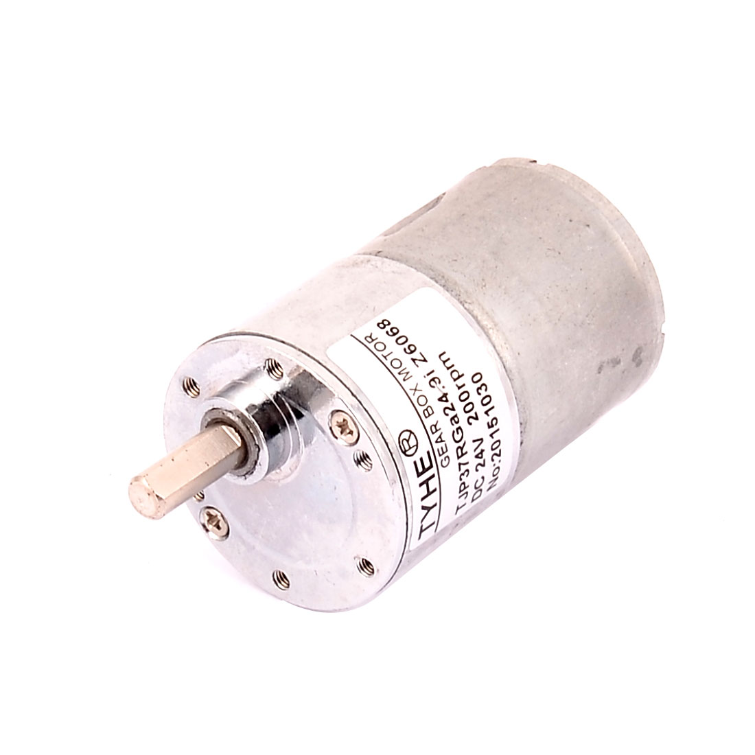 DC 24V 200RPM High Torque 6mm Dia Shaft Solder Cylindrical Gear Box Motor