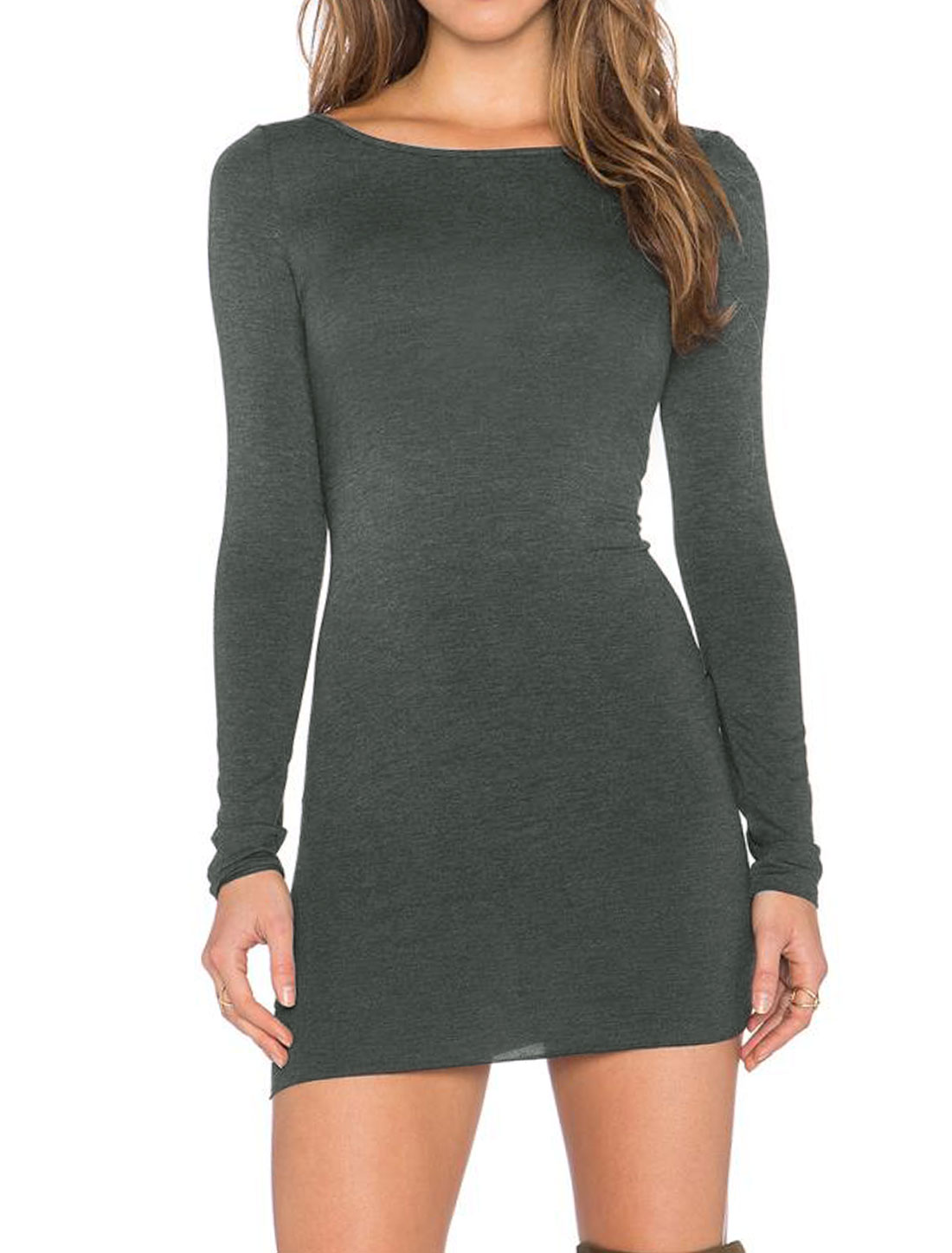 Women Round Neck Long Sleeves Backless Bodycon Dress Gray L