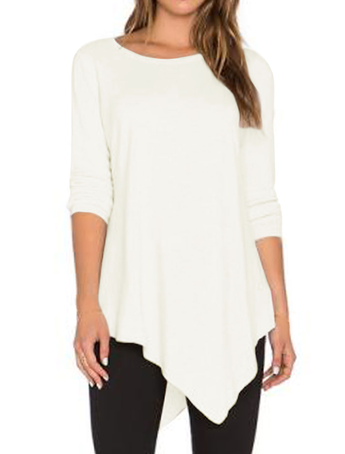 Women Long Sleeves Asymmetric Hem Tunic Top White M