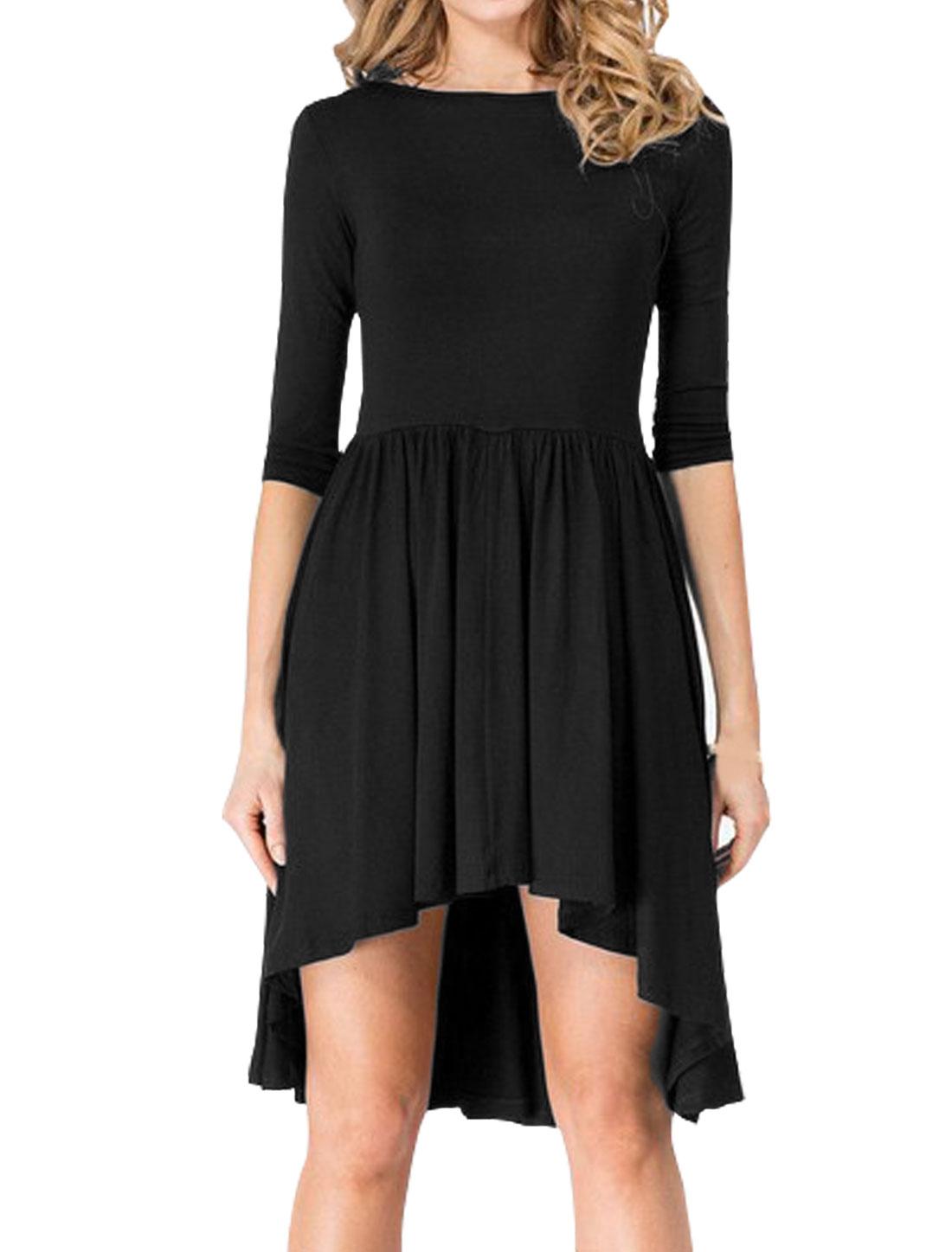 Women 3/4 Sleeves Pleated Asymmetric Hem Tunic Top Black M