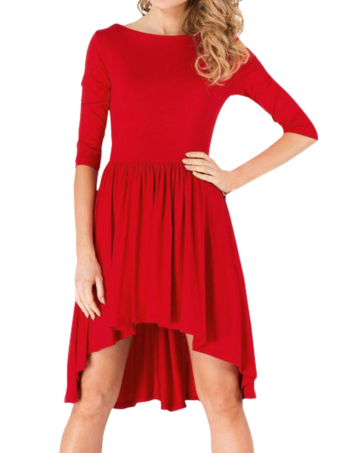 Women 3/4 Sleeves Pleated Asymmetric Hem Tunic Top Red M