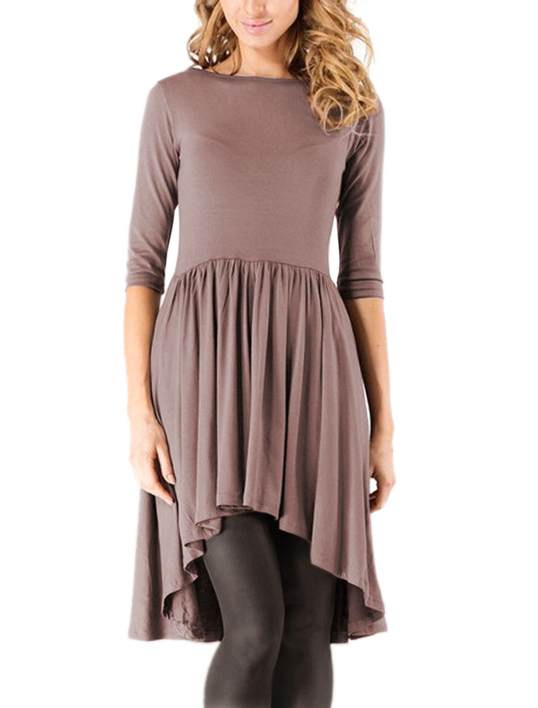 Women 3/4 Sleeves Pleated Asymmetric Hem Tunic Top Purple M