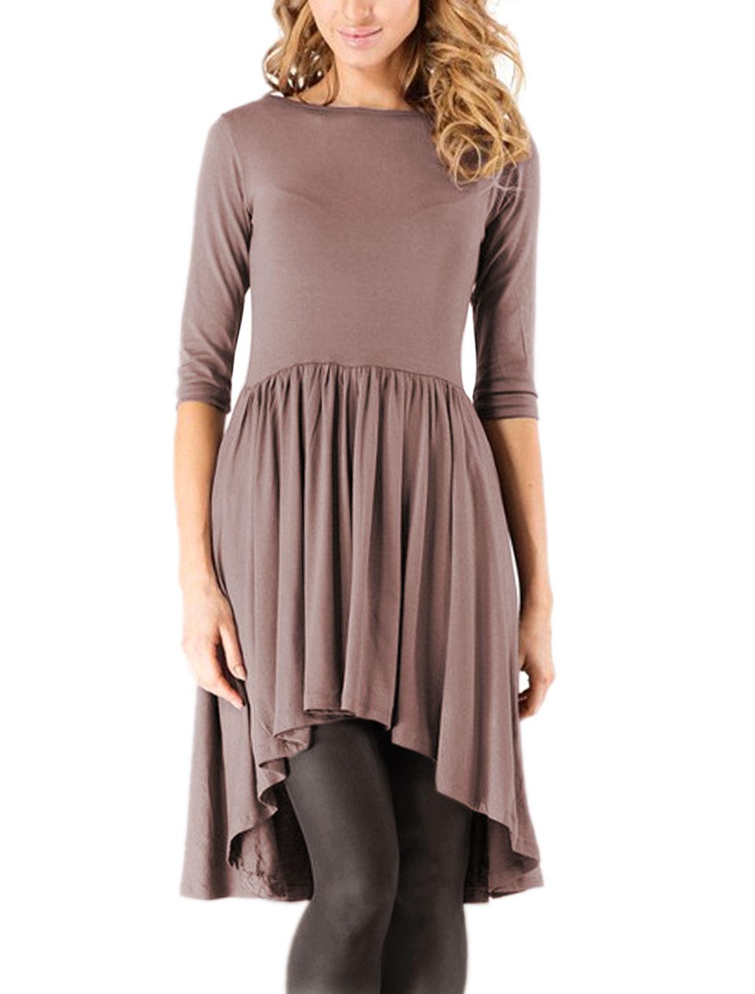 Women 3/4 Sleeves Pleated Asymmetric Hem Tunic Top Purple M