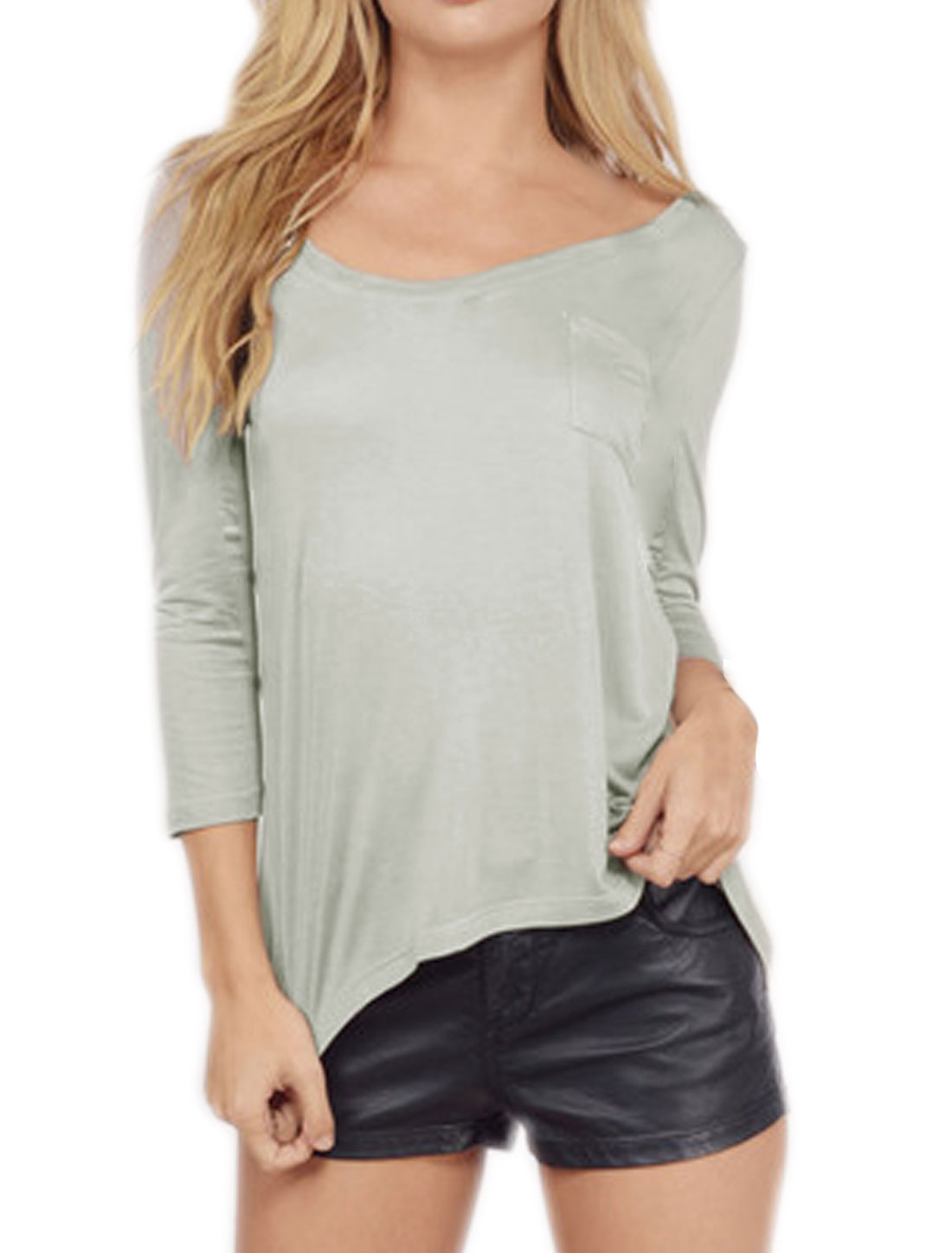 Woman Scoop Neck Long Sleeves Tee Shirt w Pocket Gray S