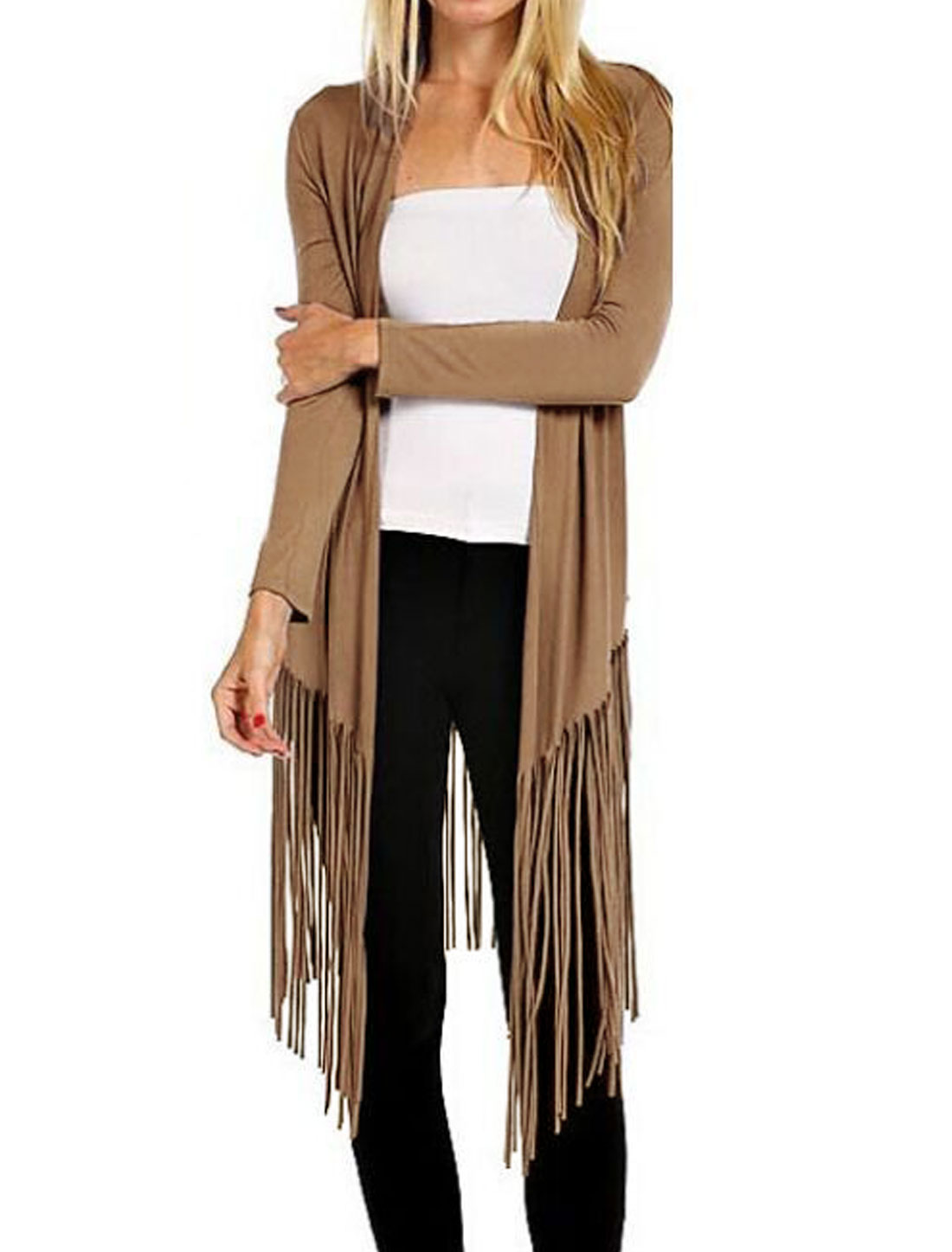 Woman Shawl Collar Tassels Hem Slim Fit Cardigan Brown M