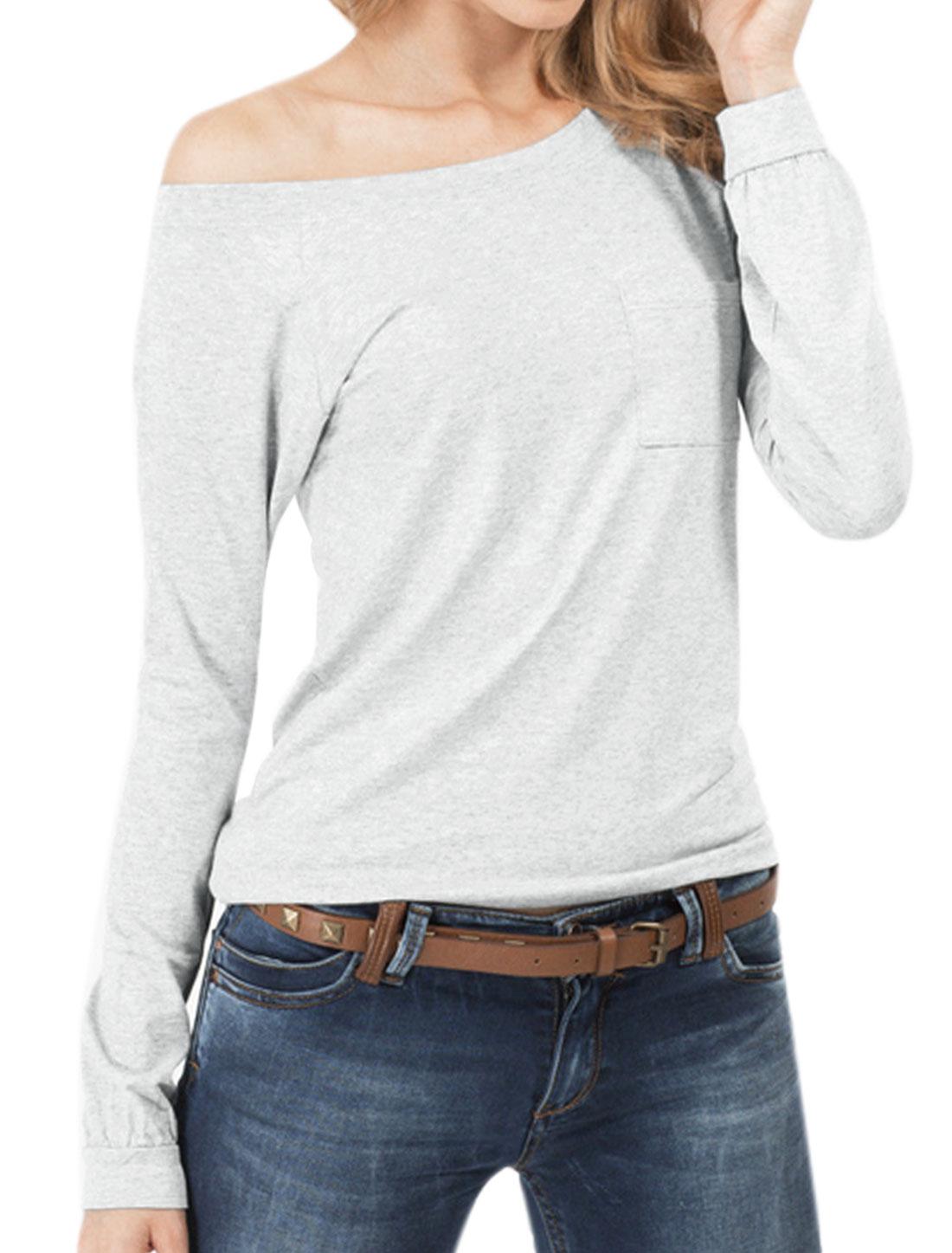 Women Raglan Sleeves Slim Fit Tee Shirt w Pocket Gray M