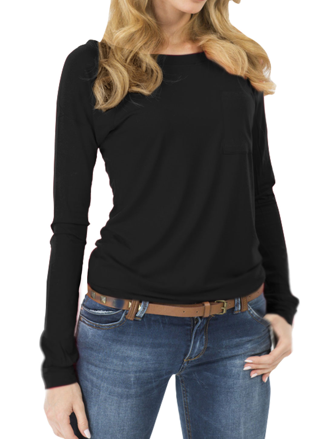 Women Raglan Sleeves Slim Fit Tee Shirt w Pocket Black M