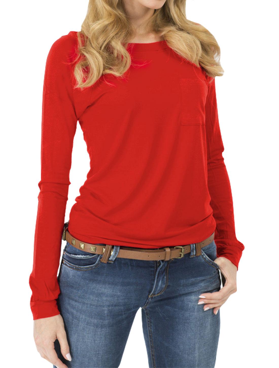 Women Raglan Sleeves Slim Fit Tee Shirt w Pocket Red M