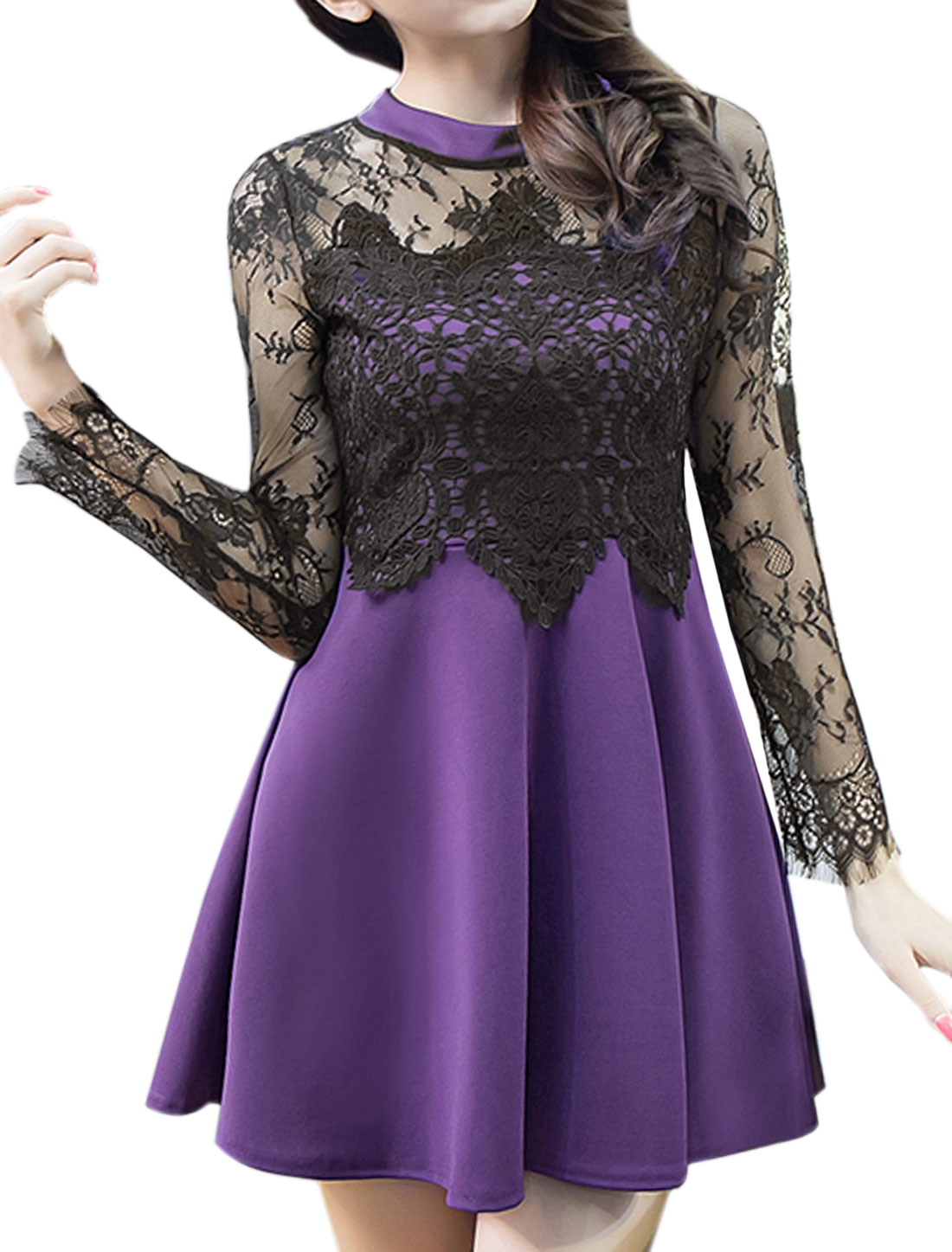 Women Floral Mesh Crochet See Through Flare Dress Purple S