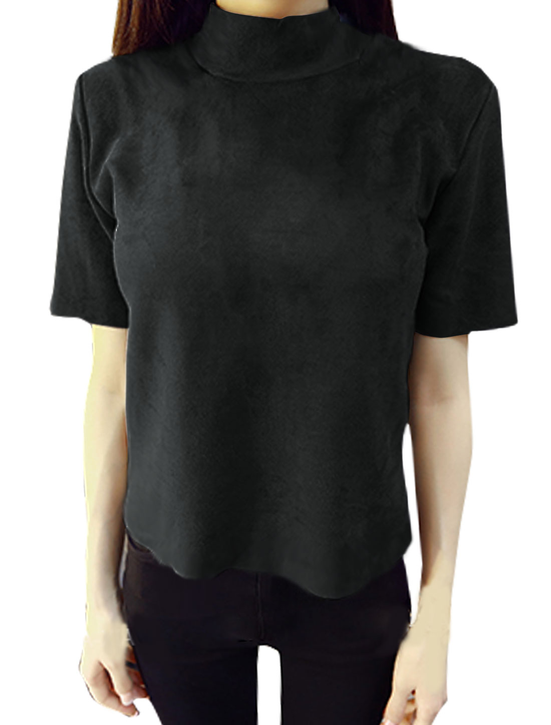 Women Short Sleeves Mock Neck Raw Edge Slim Fit Top Black XS