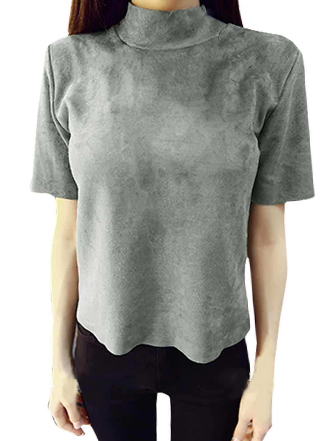 Women Short Sleeves Mock Neck Raw Edge Slim Fit Top Gray XS