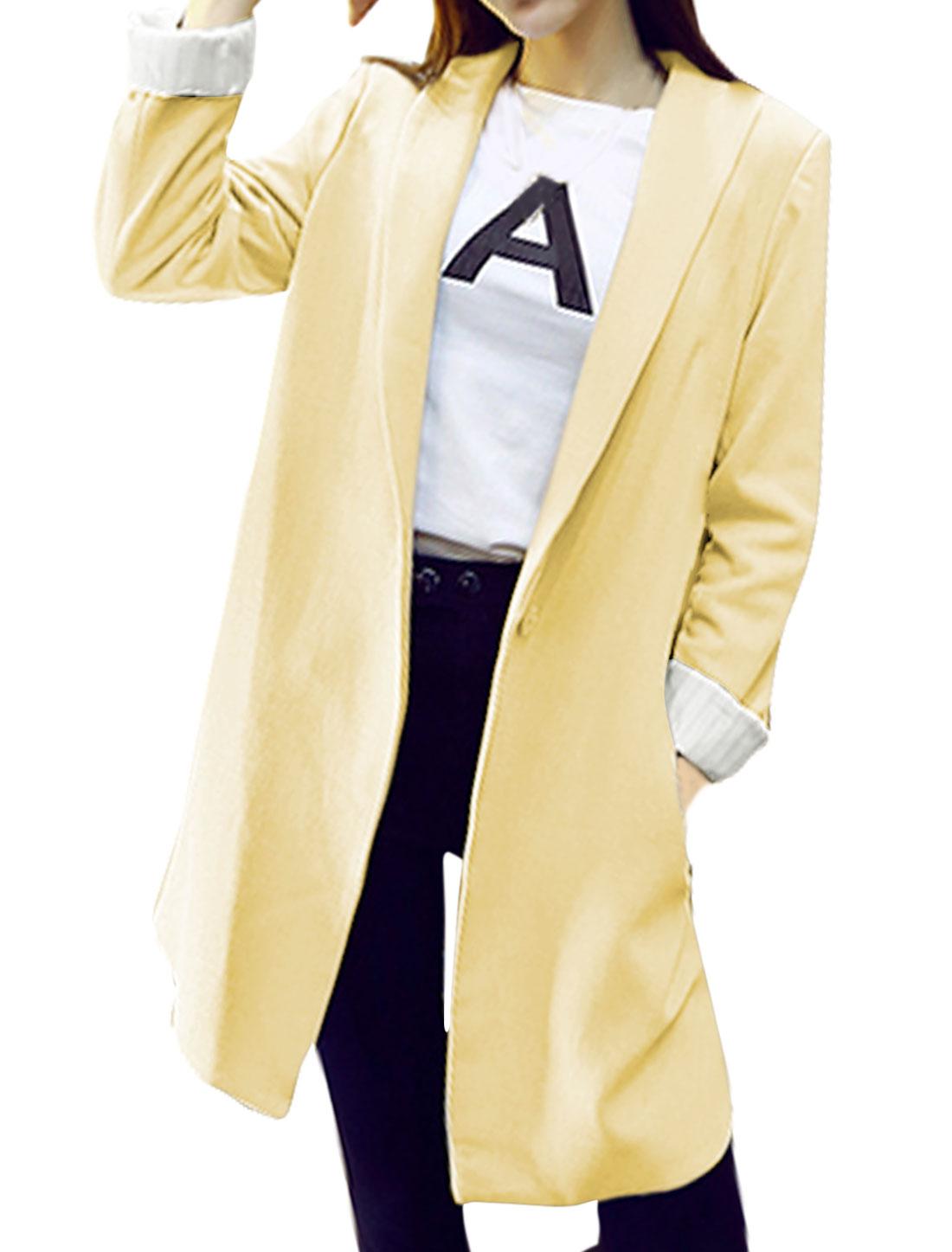 Women Long Sleeves Shawl Collar Side Pockets Tunic Jacket Beige XS