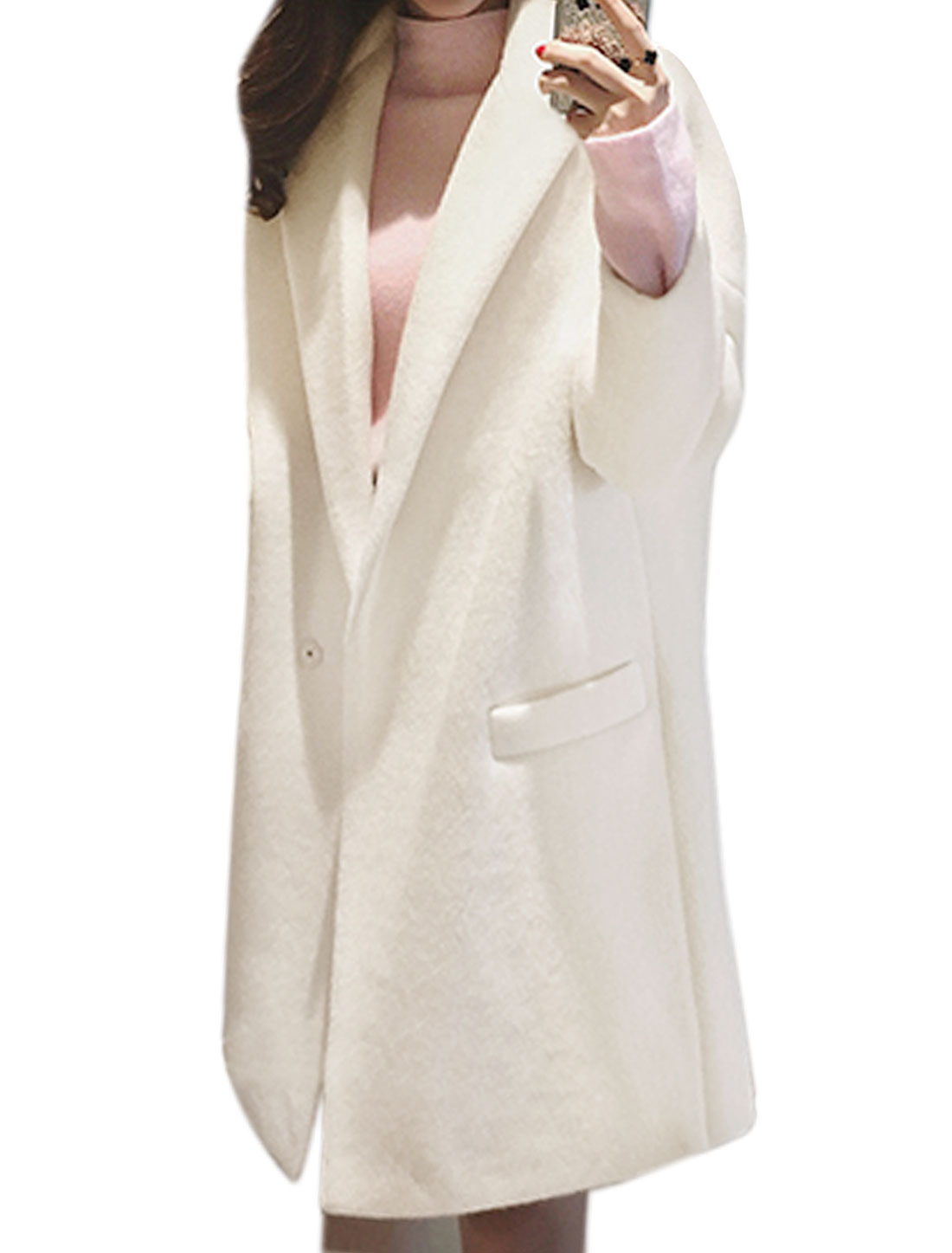 Women One Button Tunic Worsted Coat w Pockets White XS