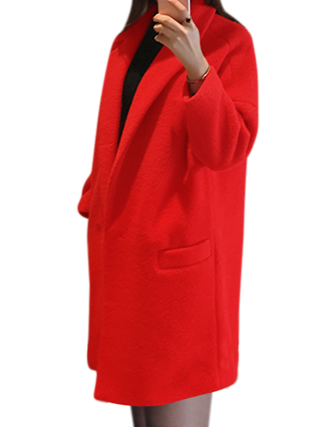 Women One Button Tunic Worsted Coat w Pockets Red XS