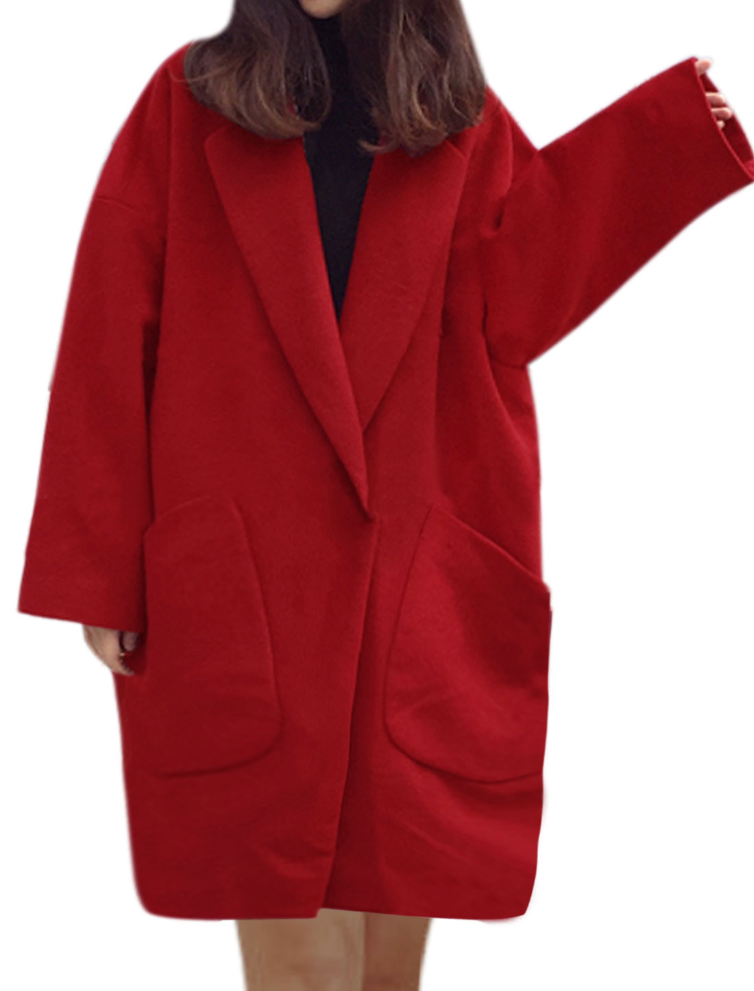 Women Batwing Buttoned Oversize Tunic Worsted Coat Red S