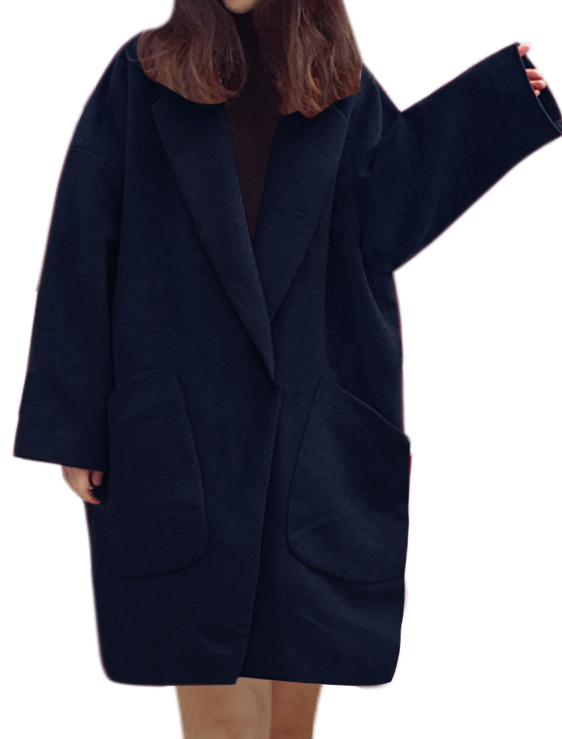 Women Batwing Buttoned Oversize Tunic Worsted Coat Blue S