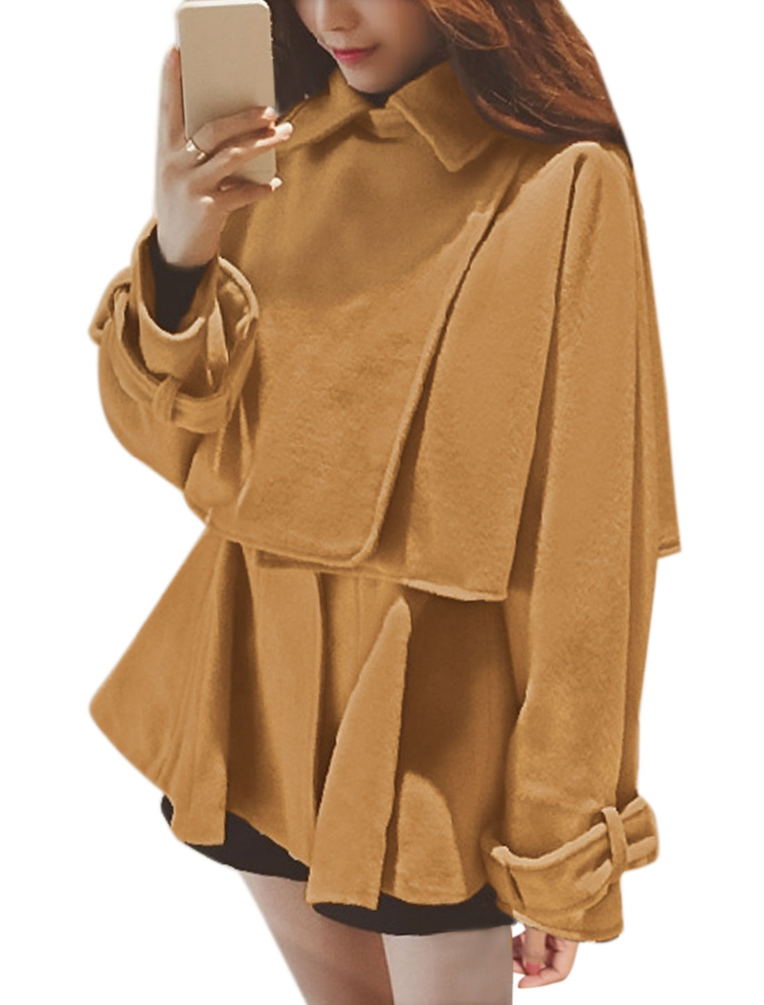 Women Crop Worsted Poncho Coat w Peplum Tunic Top Sets Yellow S