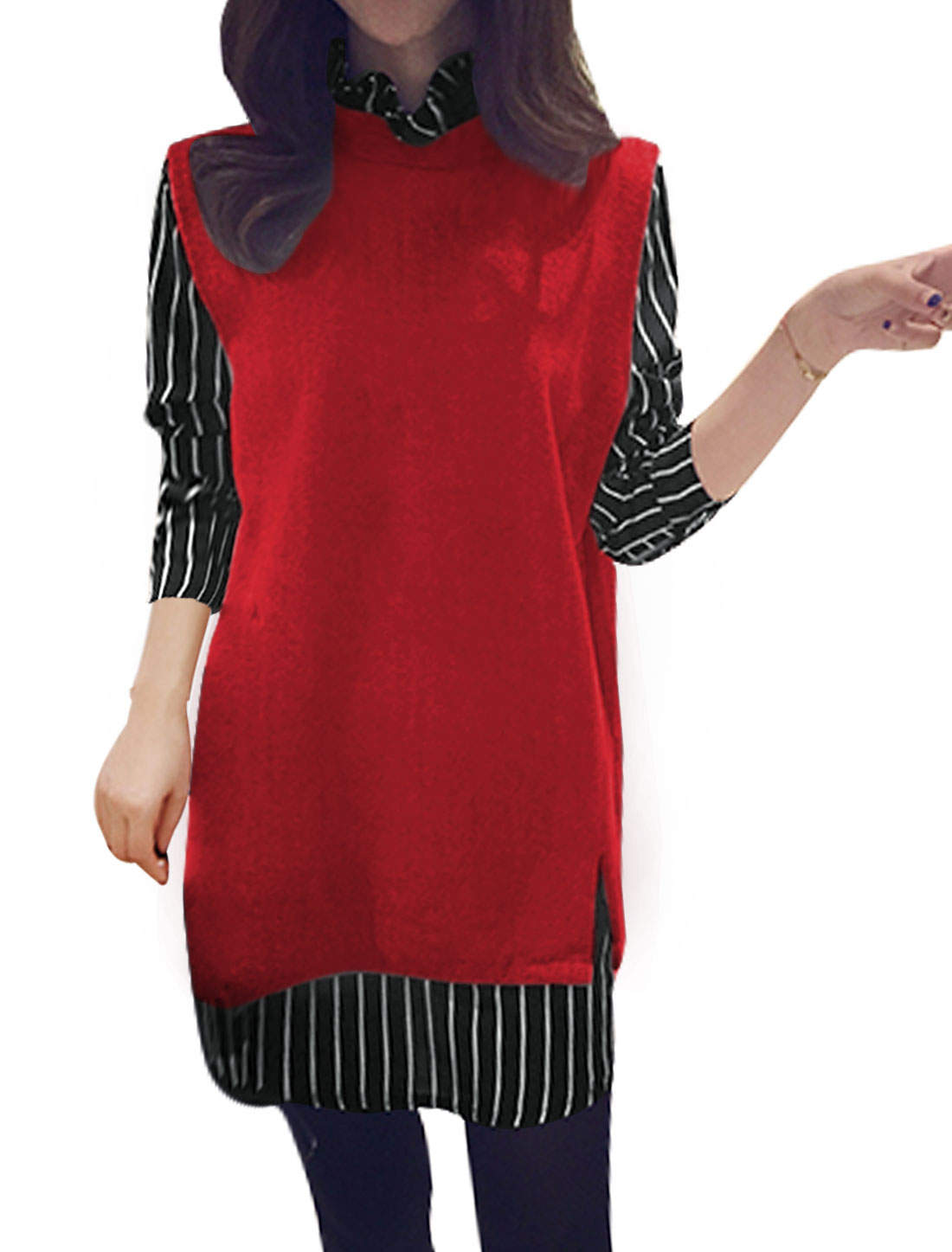 Women Stripes Ruffled Collar Paneled Layered Tunic Top Red XS