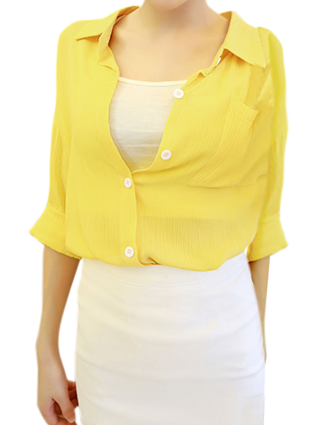 Women Collared Roll Up Sleeves Semi Sheer Blouse Yellow XS