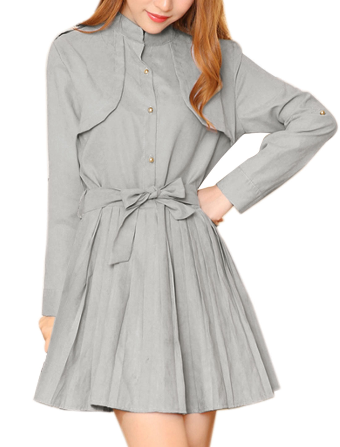 Women Rolled Up Sleeves Belted Pleated Dress Gray S