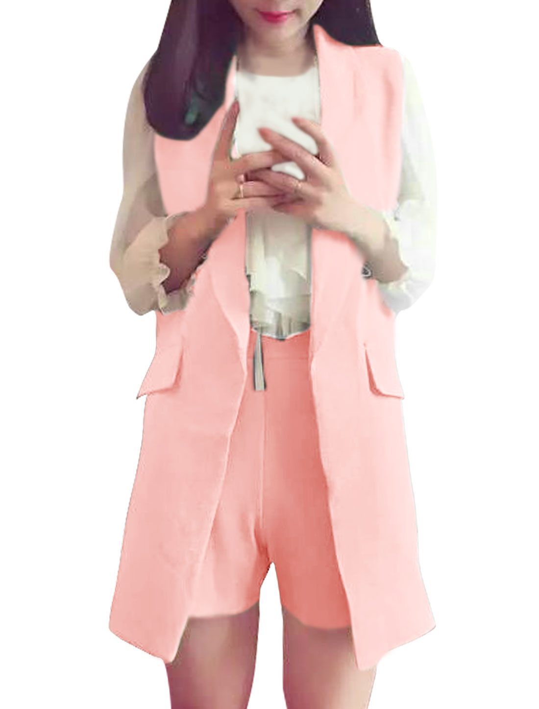 Women Turn Down Collar Tunic Vest w High Waist Shorts Sets Pink S