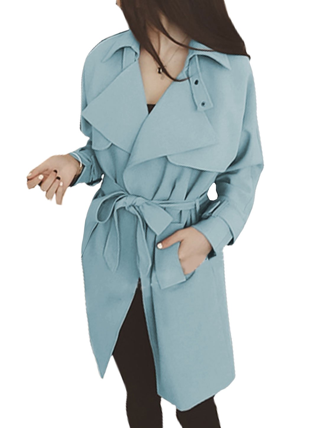 Ladies Turn Down Collar Belted Tunic Trench Coat Blue S