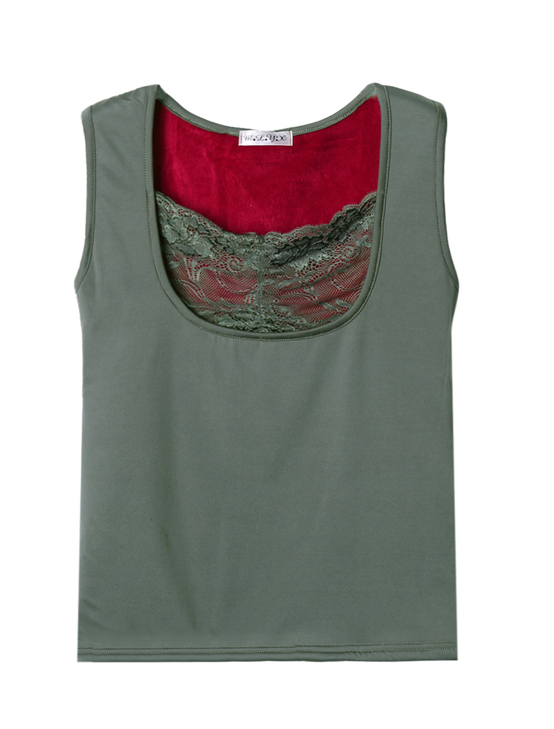 Women Sleeveless Floral Lace Soft Lined Warm Top Gray XS