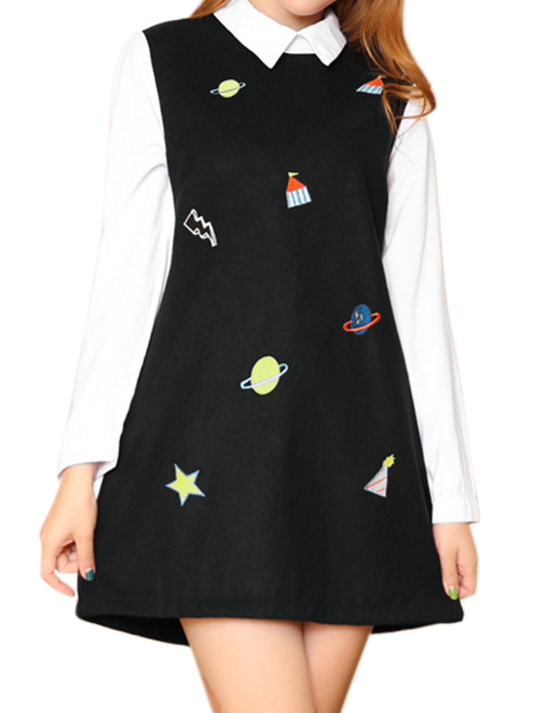 Women Plannet Stars Embroidered Paneled Layered A Line Dress Black XS