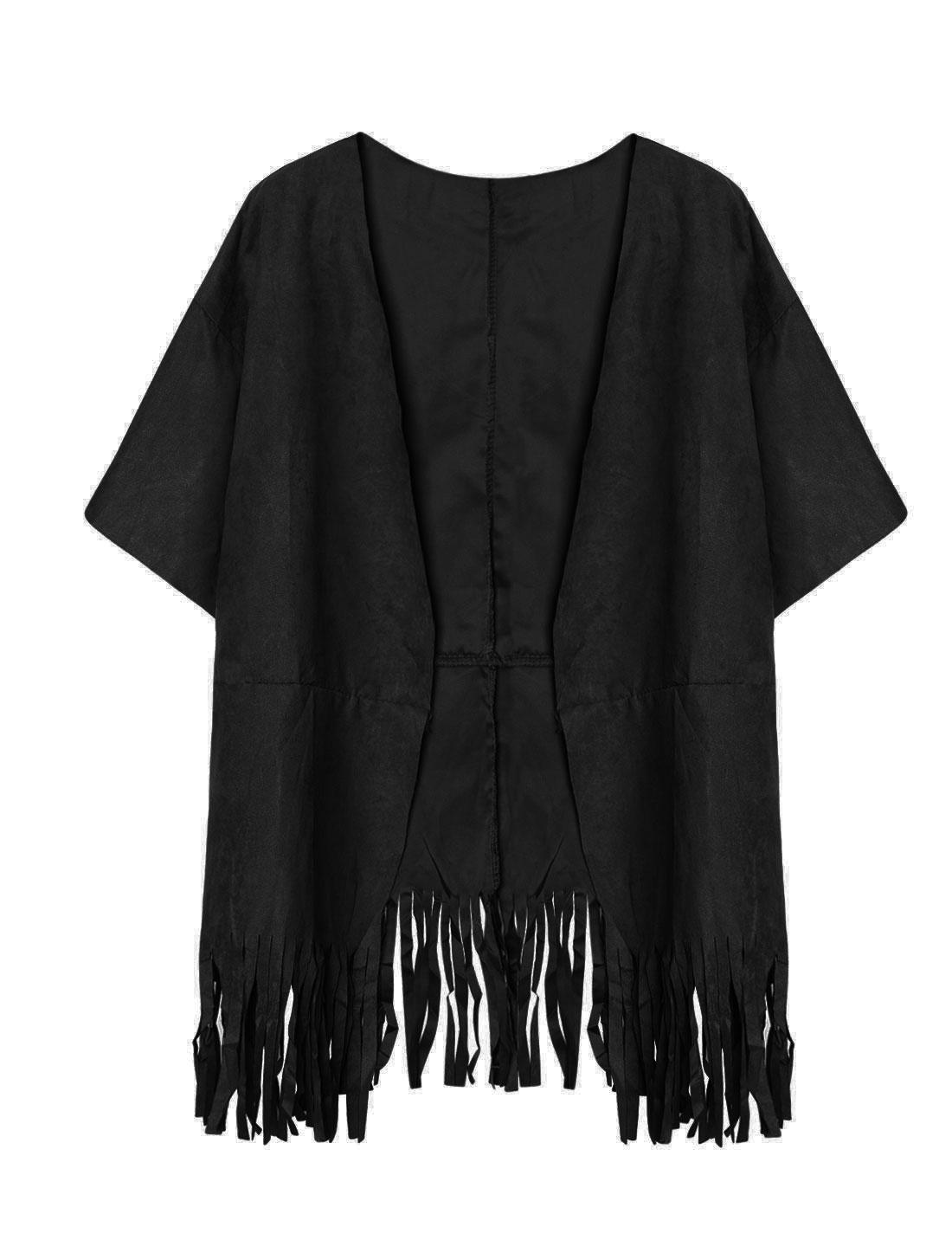 Women Batwing Sleeves Loose Tunic Tassels Cardigan Black XS
