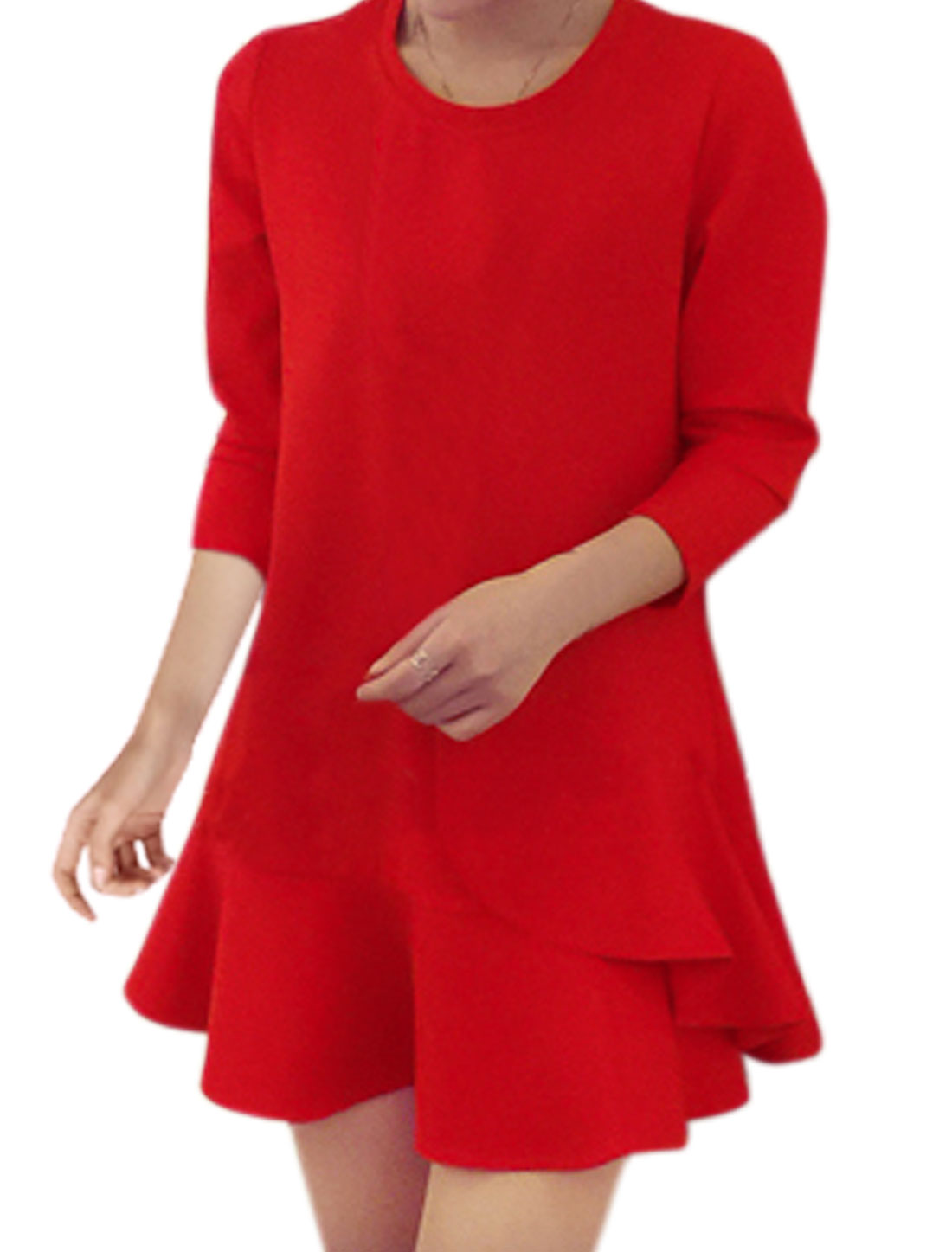 Women Round Neck Flouncing Hem Layered Tunic Dress Red M