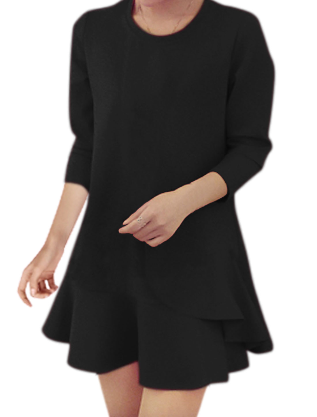 Women Round Neck Flouncing Hem Layered Tunic Dress Black M